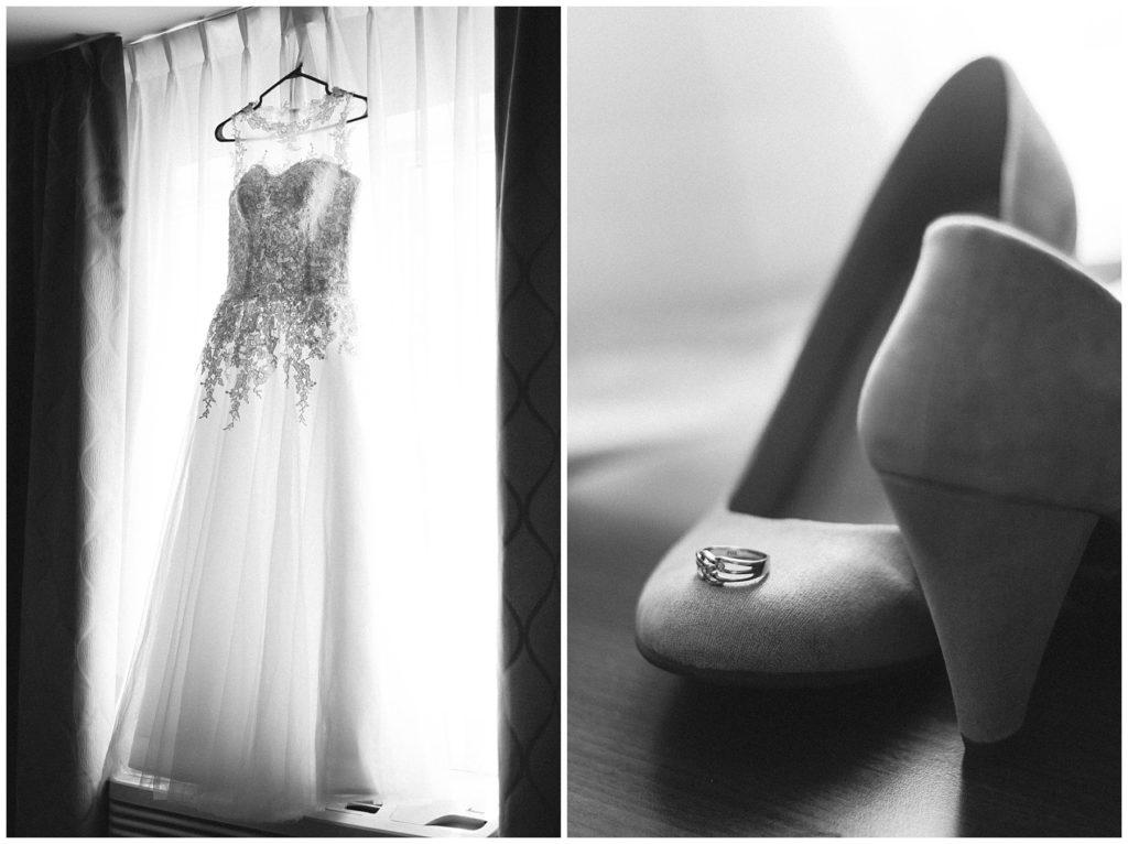 Préparation de la mariée le jour de son mariage à l'hôtel Impéria à Terrebonne - Robe de mariée, son alliance et ses souliers