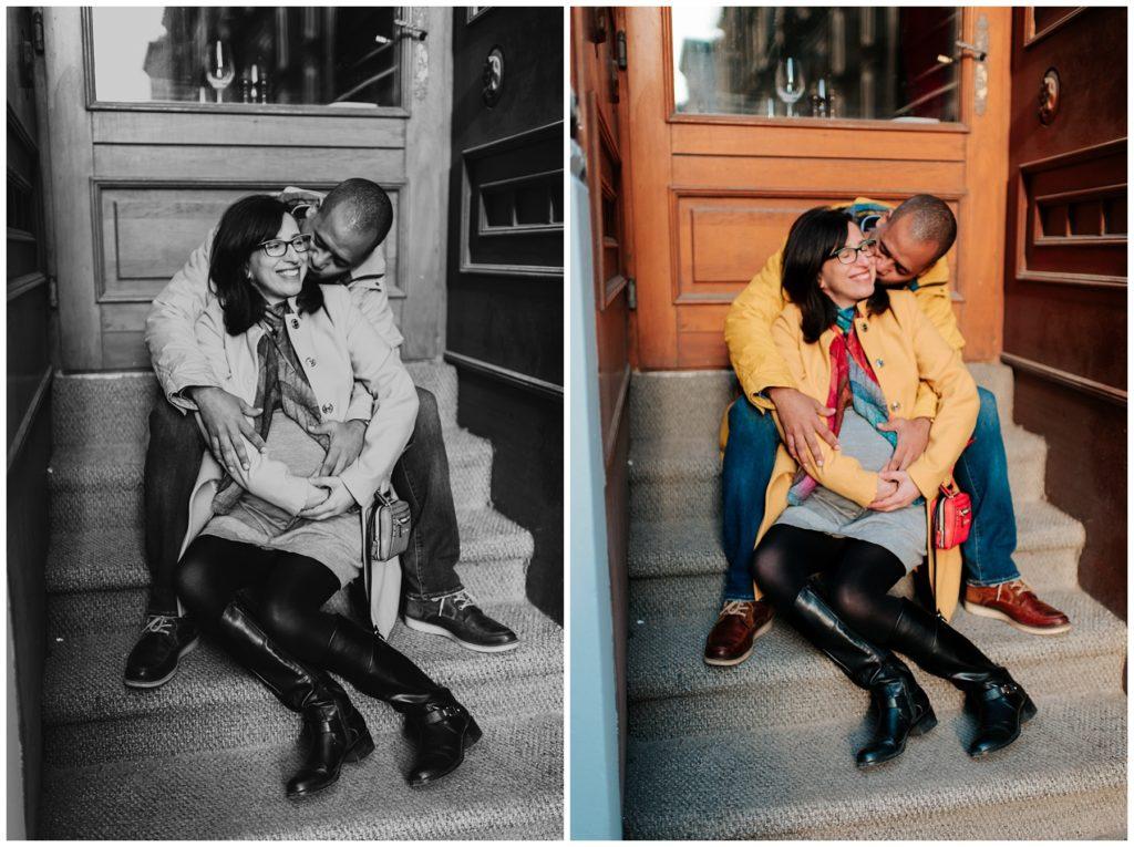 Séance photo de couple sur les marches du restaurent Bonaparte au Vieux-Port de Montréal