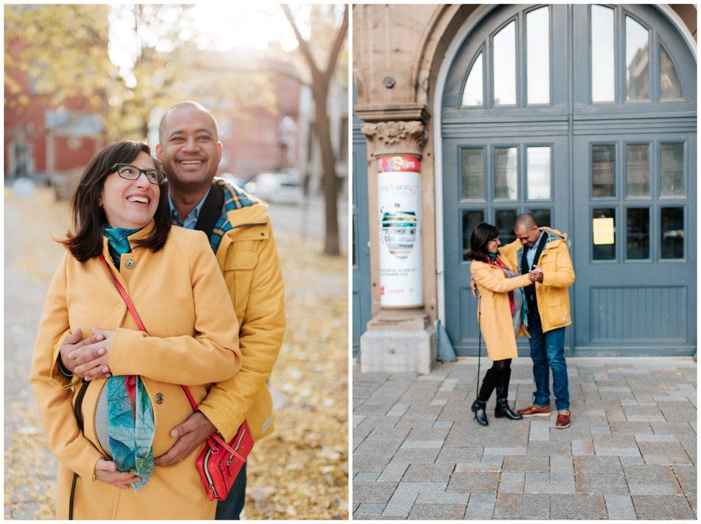 Séance photo de couple au cente d'histoire de Montréal au Vieux-Port