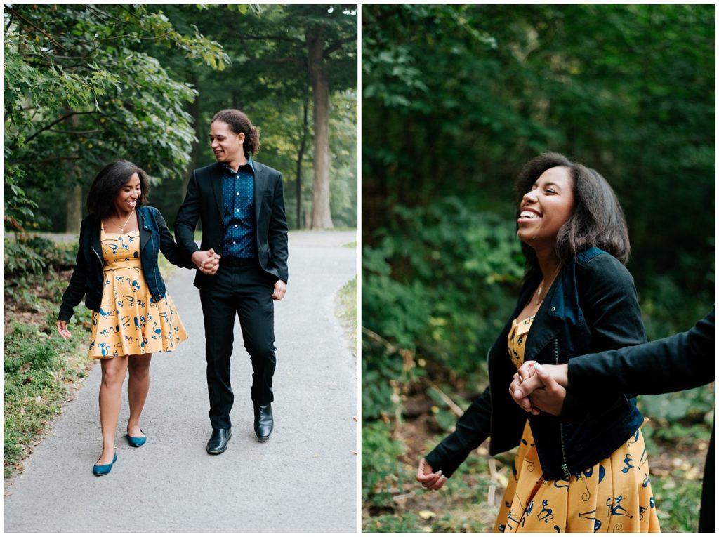 K portait une robe jaune avec des chats pour ses photos de fiançaille alors que C lui portait un toxedo noirs
