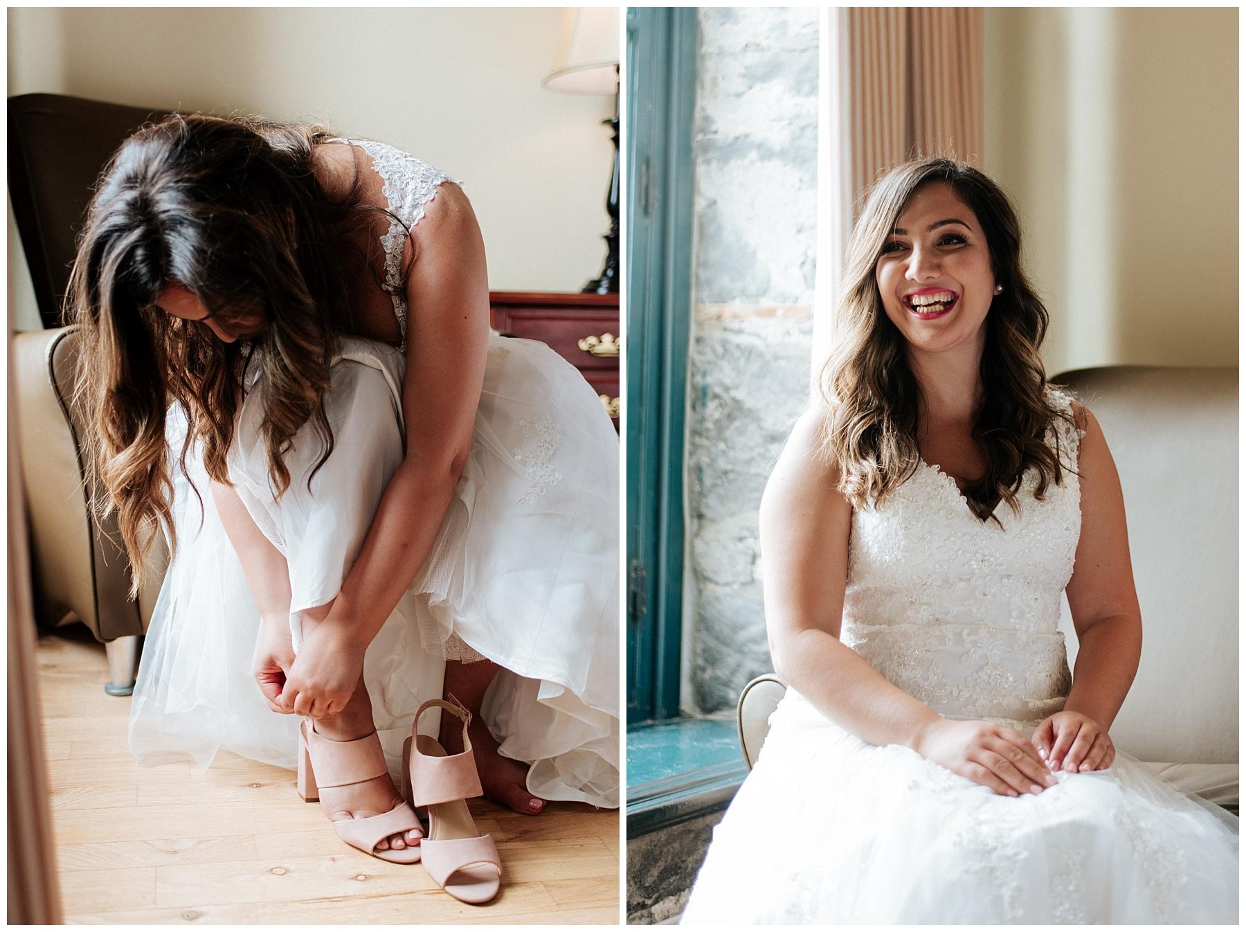 La mariée est toute excitée de pour son mariage, on la voit qui se prépare en enfilant ses souliers.