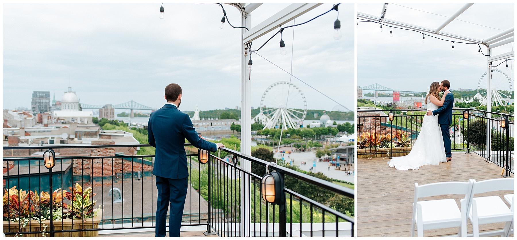 Le marié attends impatiemment de pouvoir enfin voir sa futur épouse sur le toit de l'Auberge du Vieux-Port pour leur first look intime avant leur cérémonie de mariage.