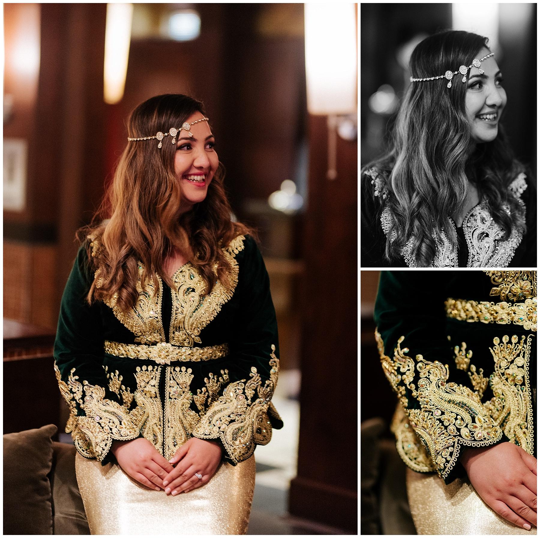 La mariée s'est changée en habit traditionnel Algérien pour le restant de la réception de mariage.
